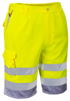 High Visibility Yellow & Grey Portwest E043 Shorts EN ISO 20471
